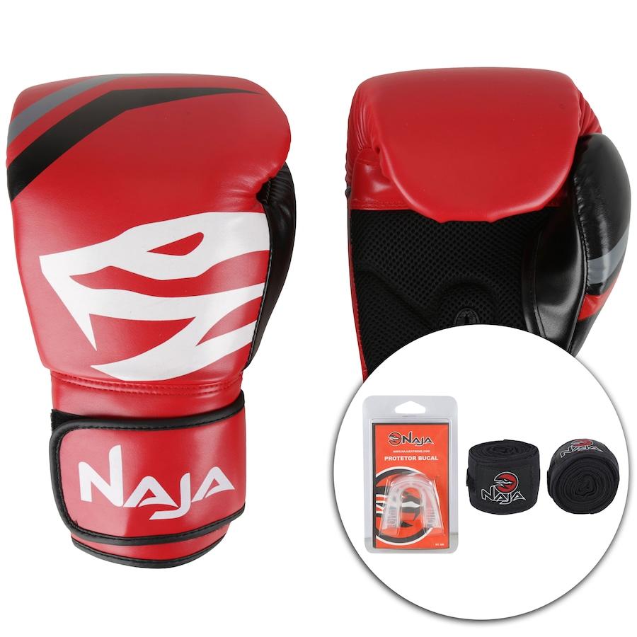 9ebfd0140 Kit de Boxe Naja  Bandagem + Protetor Bucal + Luvas de Boxe First 06 - 14  OZ - Adulto
