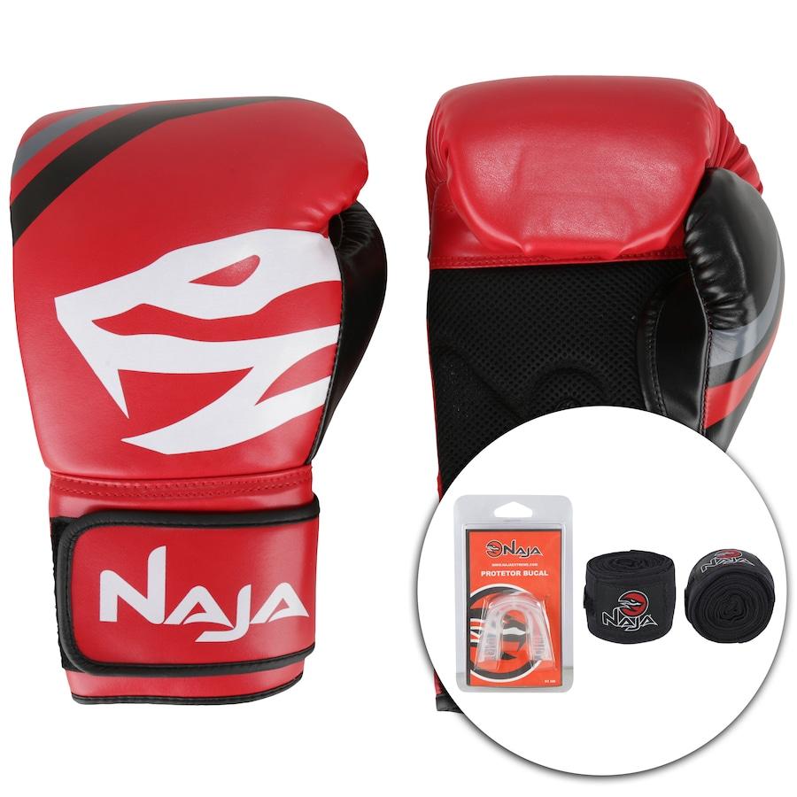 c0941d8fd Kit de Boxe Naja  Bandagem + Protetor Bucal + Luvas de Boxe First 06 - 16  OZ - Adulto