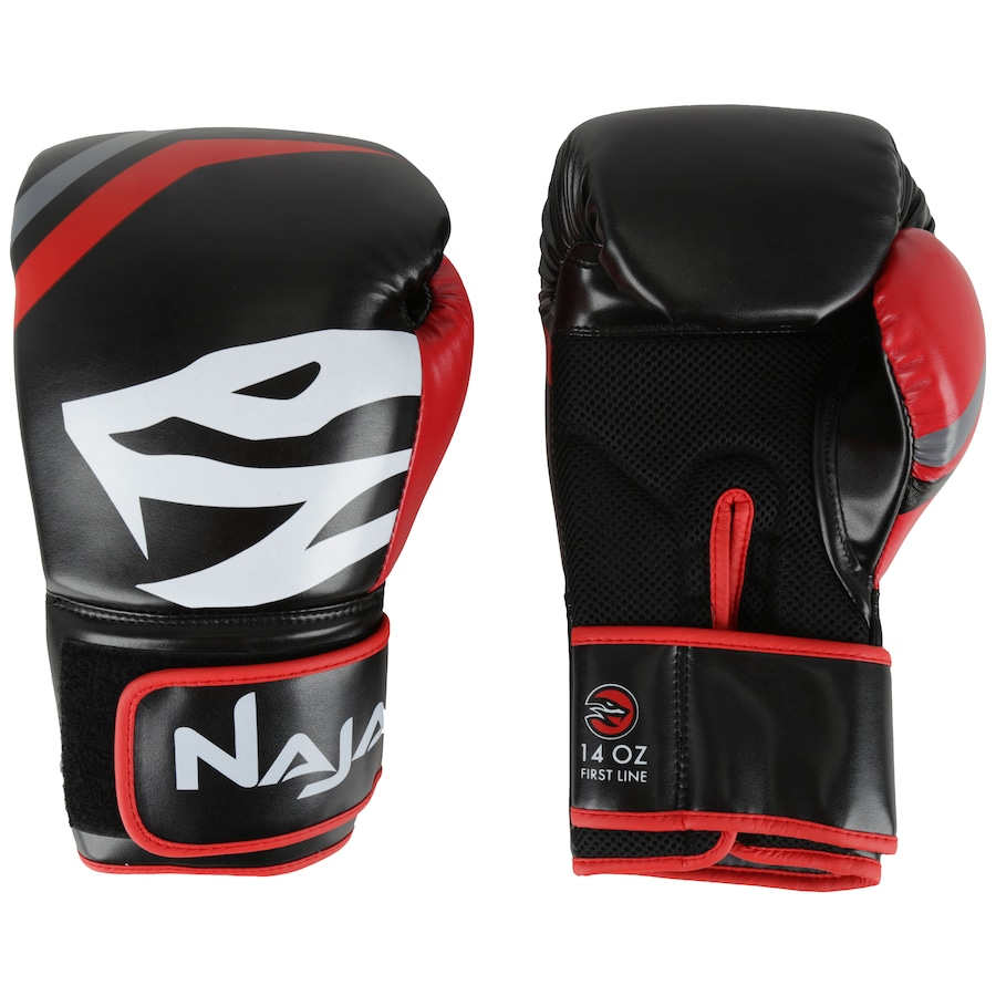 5494ec6a9 Kit de Boxe Naja  Bandagem + Protetor Bucal + Luvas de Boxe First 19 - 14  OZ - Adulto