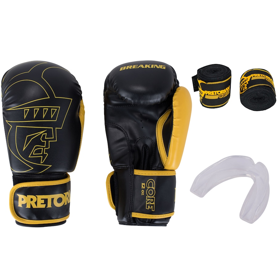 Kit de Boxe Pretorian: Bandagem + Protetor Bucal + Luvas de Boxe Core - 12 OZ - Adulto
