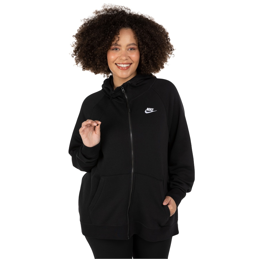 Jaqueta com Capuz Nike Sportswear Essential Hoody FZ FLC Plus - Feminina