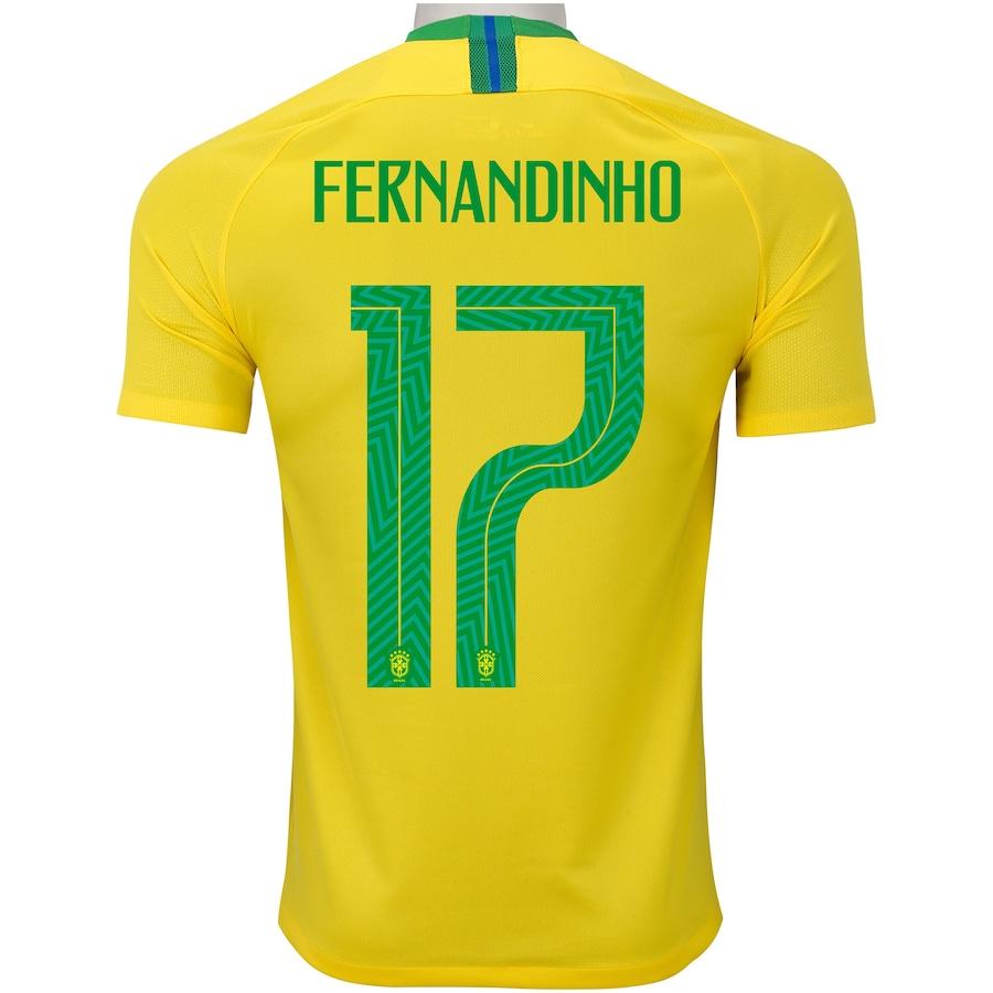 76e8dab9ca Camisa da Seleção Brasileira I 2018 Nike nº 17 Fernandinho - Masculina