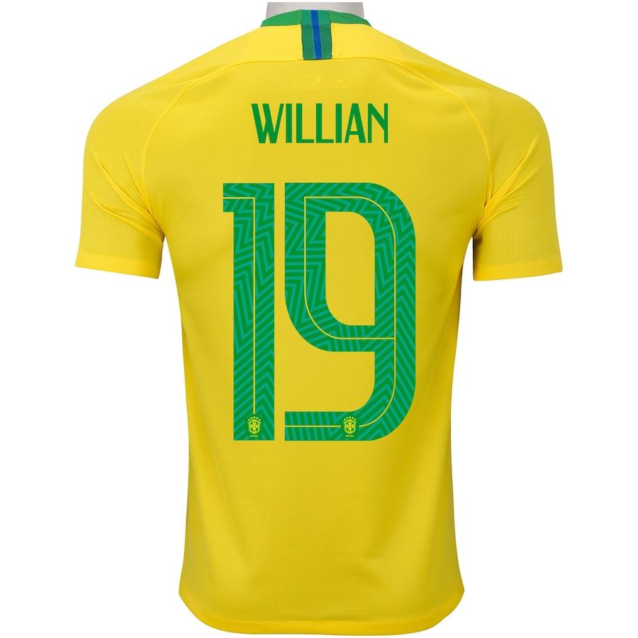 Camisa da Seleção Brasileira I 2018 Nike nº 19 Willian - Masculina 0a8ab17770d78