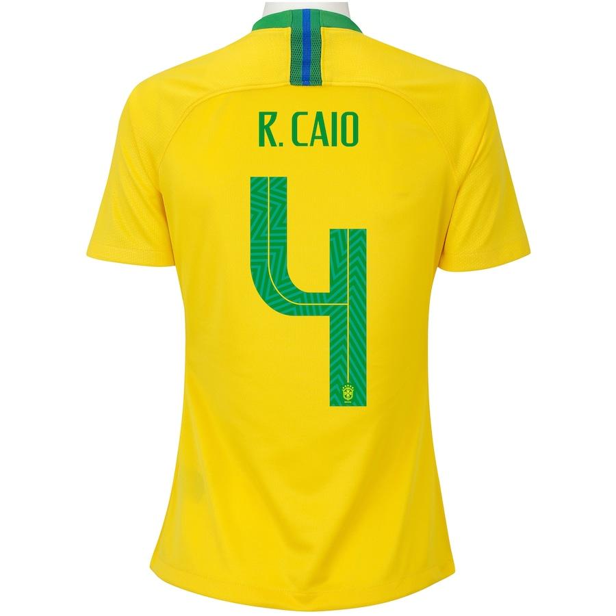 2e126de176 Camisa da Seleção Brasileira I 2018 Nike nº 4 Rodrigo Caio - Feminina