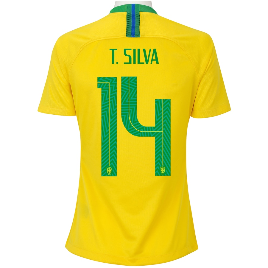 Camisa da Seleção Brasileira I 2018 Nike nº 14 Tiago Silva - Feminina 2cc00c8c58a44