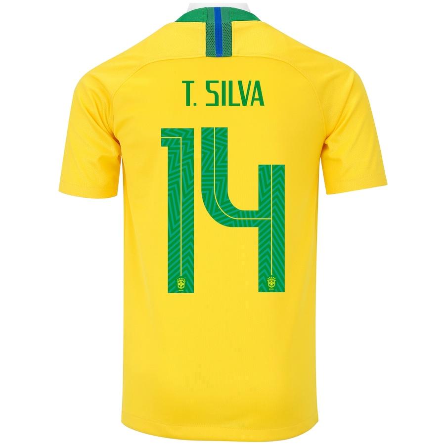 e031971bd63 Camisa da Seleção Brasileira I 2018 Nike nº 14 Tiago Silva - Juvenil
