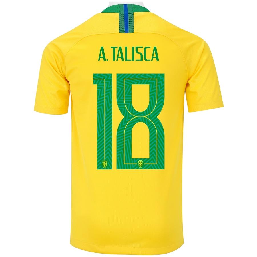 732dcb641c ... Camisa da Seleção Brasileira I 2018 Nike nº 18 Anderson Talisca -  Juvenil a97fa7508ca1d6 ...