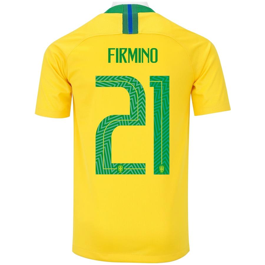 75617881bb Camisa da Seleção Brasileira I 2018 Nike nº 21 Firmino - Juvenil