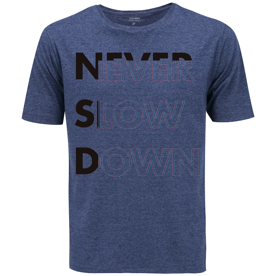 4b5e95b2c4b77 Camiseta Oxer Básica - Masculina - Azul Esc Cinza Esc - NEVER SLOW DOWN