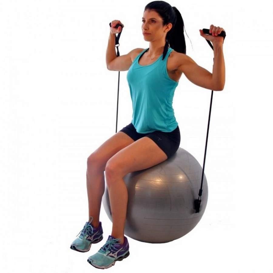 Bola de Pilates Suiça LiveUp com Extensores - 65cm cadc9c7e5996e