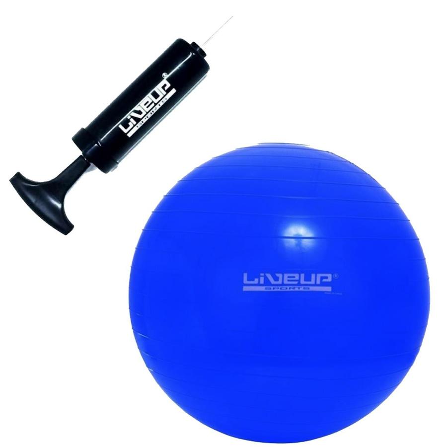 5d73168daaca6 Bola de Pilates Suiça LiveUP com Bomba Manual de Inflar - 65cm