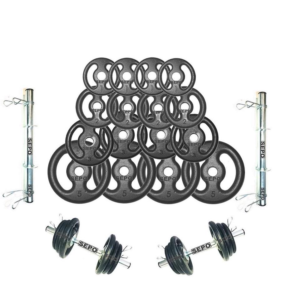 55d63ffb4 Kit para Halteres Sepo  2 Barras para Musculação + 4 Presilhas + 16 Anilhas  - 44 Kg