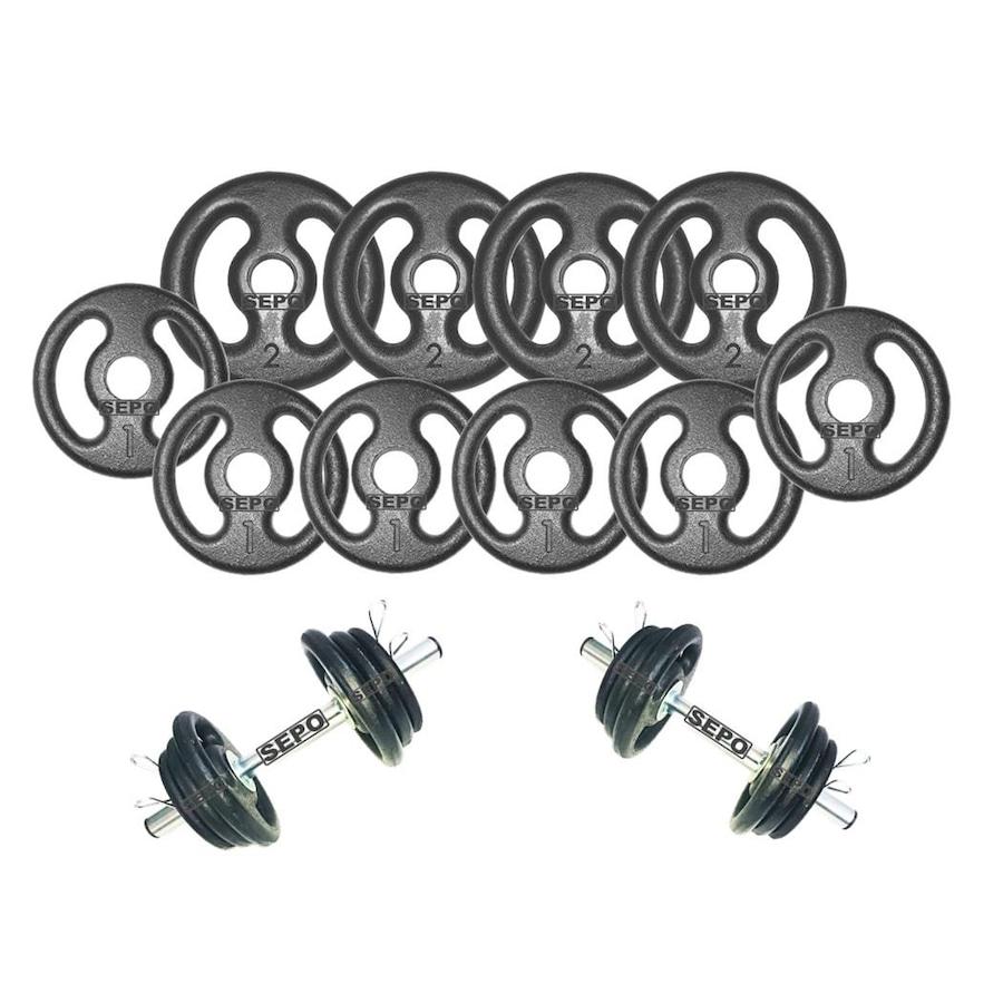 a7453b45e Kit para Halteres Sepo  2 Barras para Musculação + 4 Presilhas + 10 Anilhas  - 14 Kg