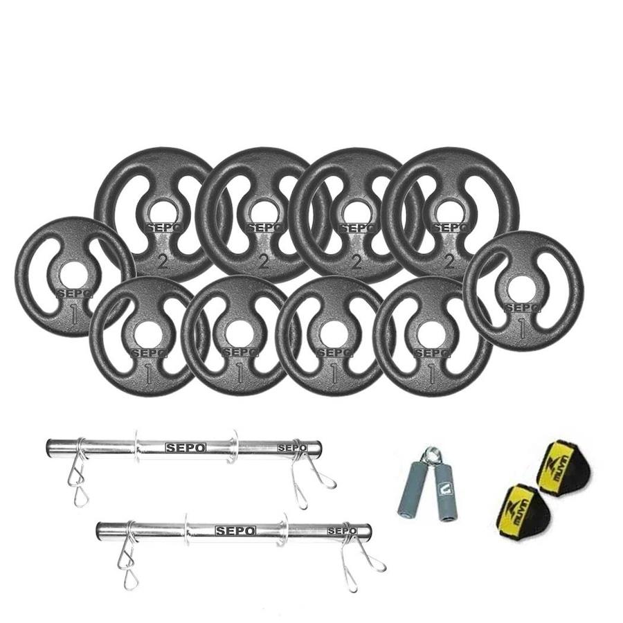 308c019b8 Kit para Halteres Sepo  2 Barras para Musculação + Hand Grip + 1 Par de  Luvas + 10 Anilhas ...