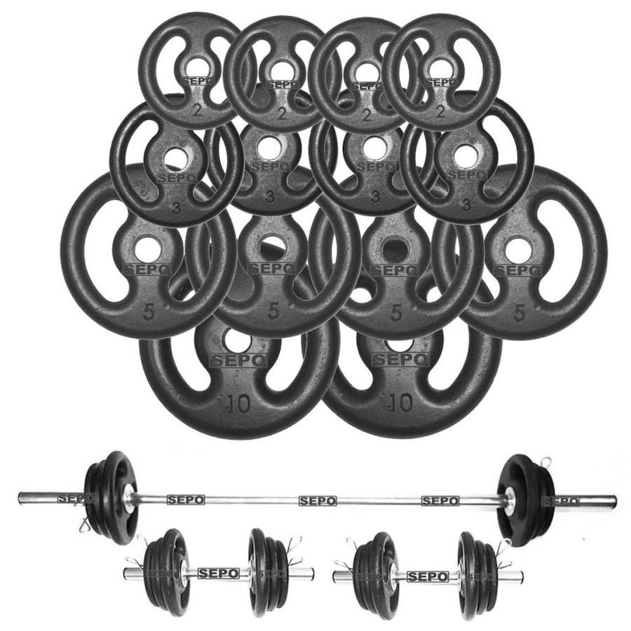 10ab50d8c Kit para Halteres e Supino Sepo  3 Barras para Musculação + 14 Anilhas -  60Kg