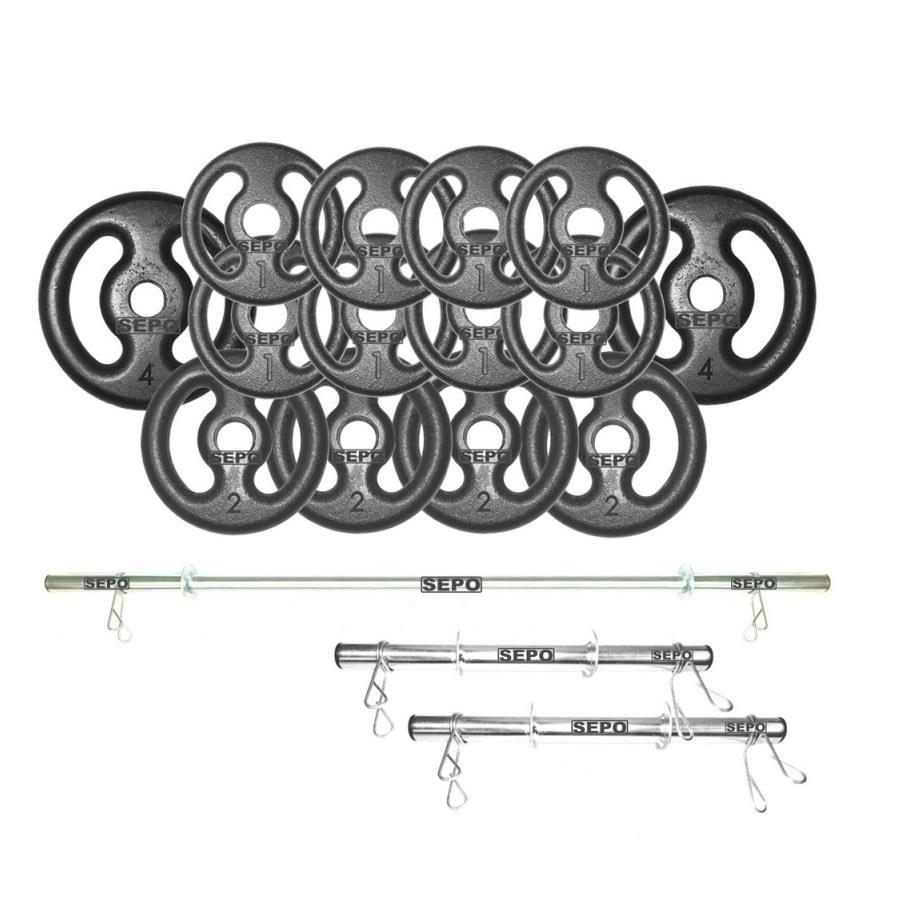 7b66563c3 Kit para Halteres e Supino Sepo  3 Barras para Musculação + 14 Anilhas -  24Kg