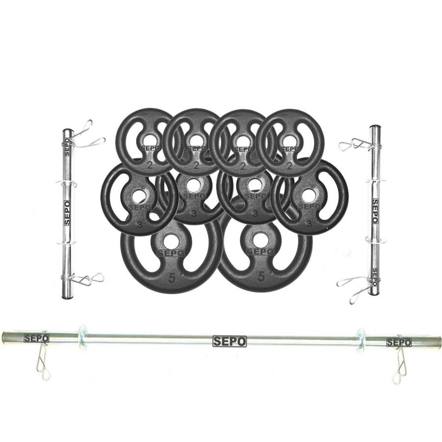 4d13e0e10 Kit para Halteres e Supino Sepo  3 Barras para Musculação + 10 Anilhas -  30Kg