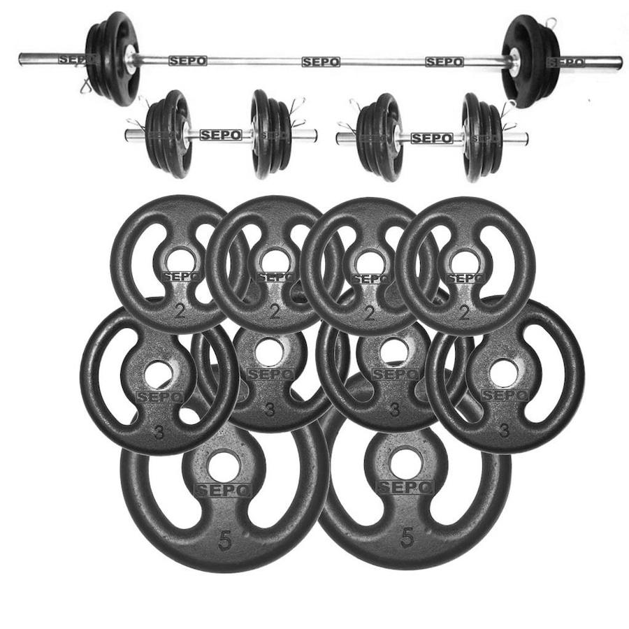 753ab577b Kit para Halteres e Supino Sepo  3 Barras para Musculação + 10 Anilhas -  30Kg