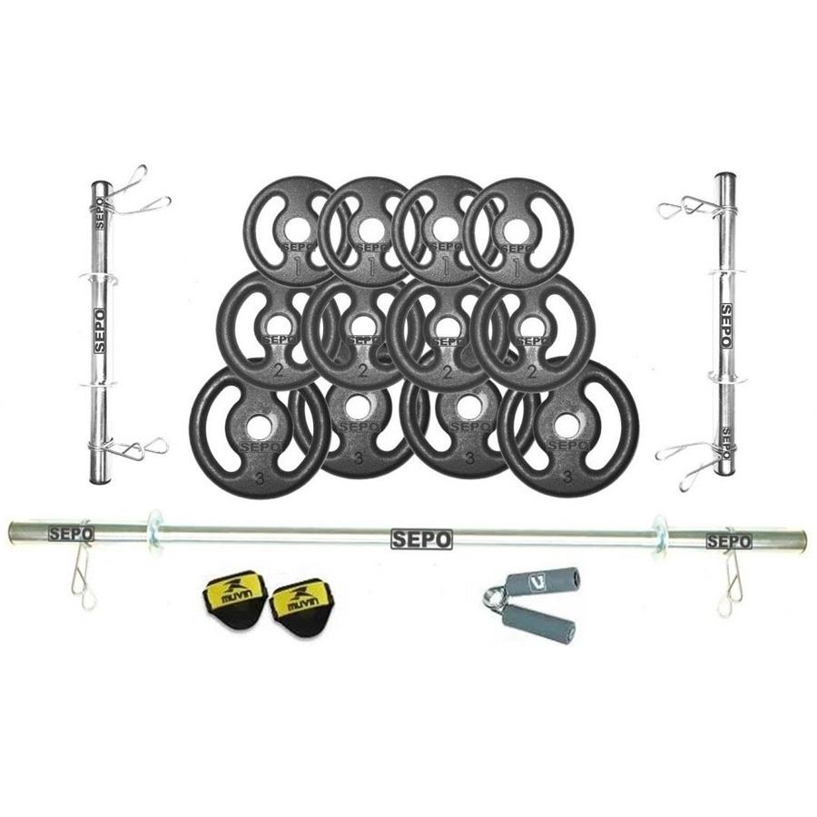 aee798ec1 Kit para Halteres Sepo  3 Barras para Musculação + Hand Grip + 1 Par de  Luvas + 12 Anilhas - 24Kg