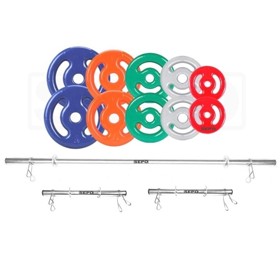 6abf40874 Kit para Halteres e Supino Sepo  3 Barras para Musculação + 10 Anilhas  Emborrachadas - 30Kg
