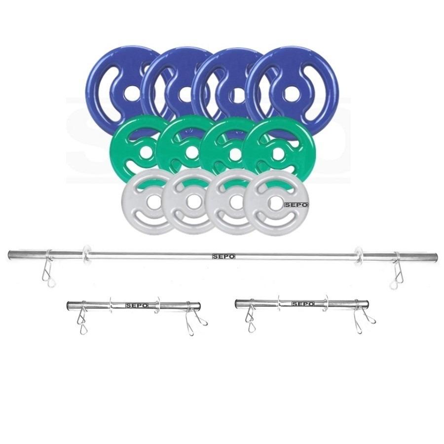 aadbbcd8a Kit para Halteres e Supino Sepo  3 Barras para Musculação + 12 Anilhas  Emborrachadas - 40Kg