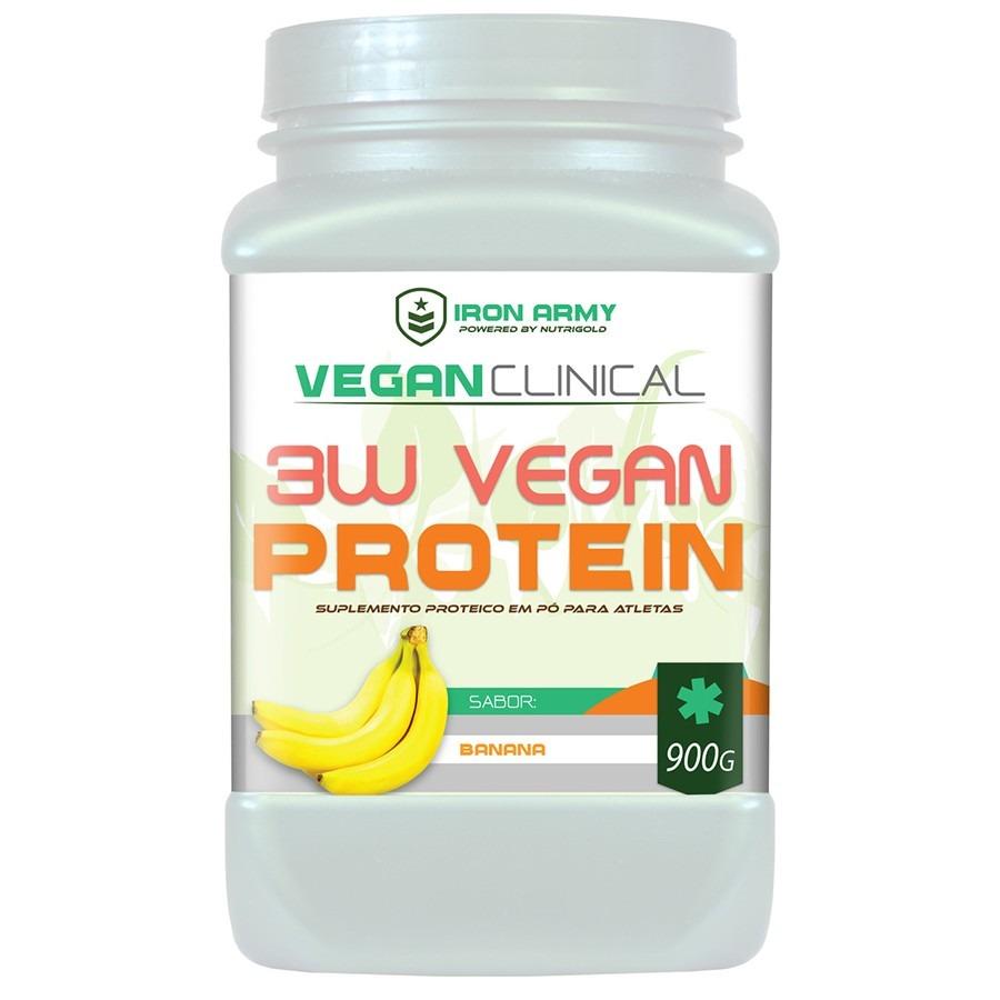 e0f52df7a Proteína Vegana Iron Army 3W Vegan Protein (Proteína de Ervilha + Arroz +  Soja) - 900G - Banana
