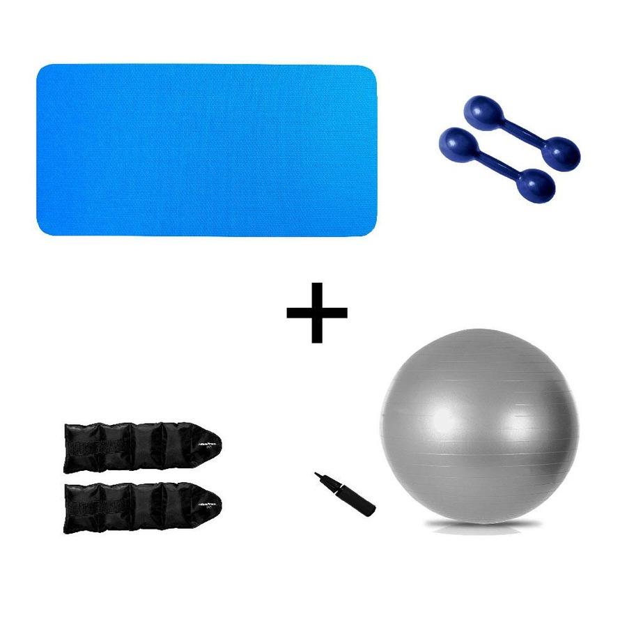4116cb90cb Kit Treino Funcional Natural Fitness com Colchonete 10mm + Halter +  Caneleira de Peso + Bola Suíça