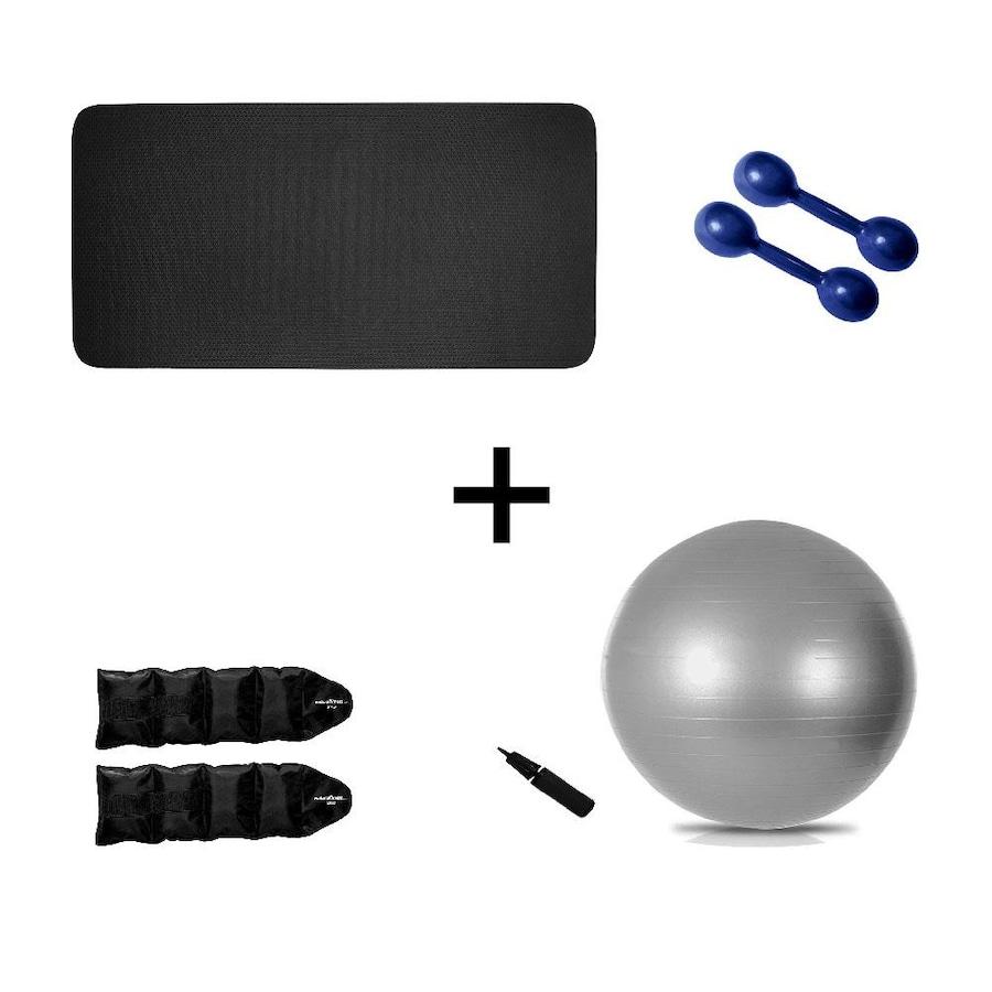 Kit Natural Fitness Colchonete + Par de Halter 1kg + Par de Caneleira  Tornozeleira 2kg + Bola Suíça 3f6d72011bd0f