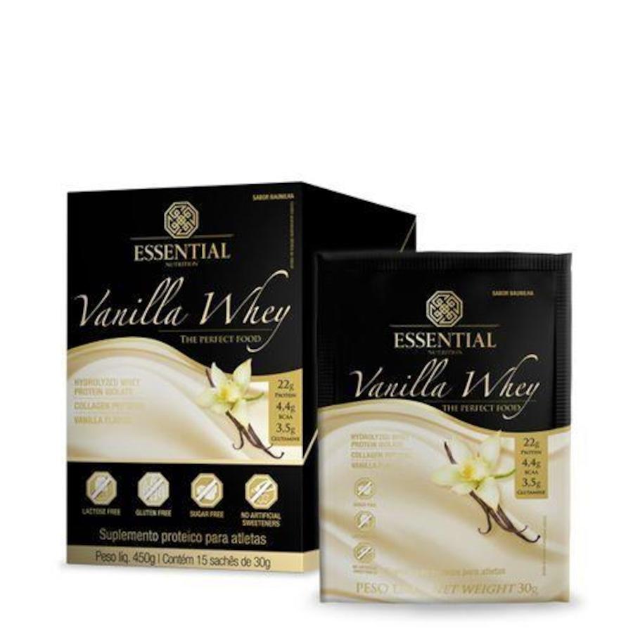 087bee0fd Whey Protein Essential Nutrition Vanilla Whey - Caixa com 15 saches de 30g