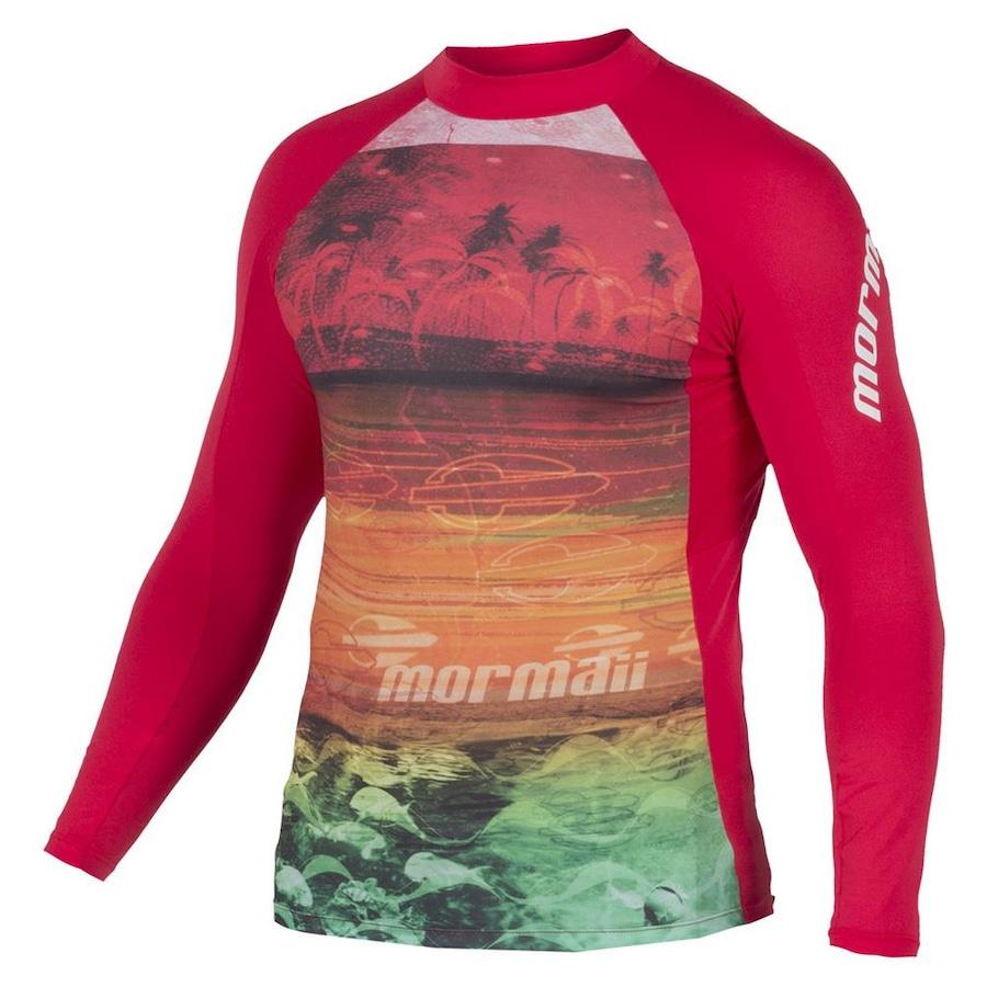 Camiseta Manga Longa Mormaii Core Peixes com proteção UV 50+ - Vermelho 03feca22a2f
