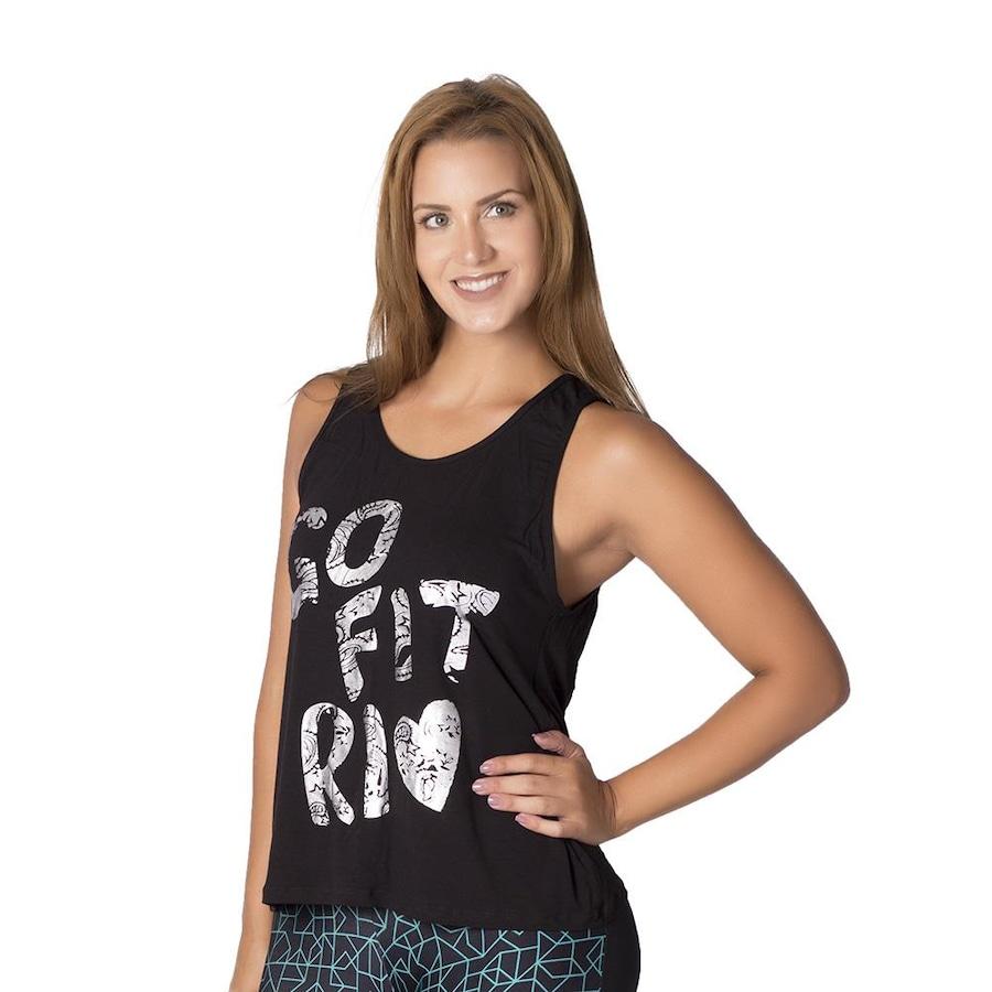 59c74d9bda123 Camiseta Regata Go Fit Rio Fitness Skull Detalhe Costas - Feminina