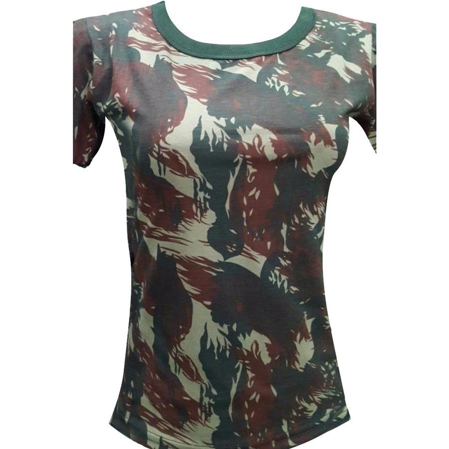 Camiseta Leoni Pires Baby Look Militar Camuflada - Feminina fa5cf8d8e6b