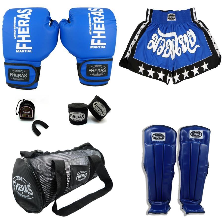 Kit Boxe Muay Thai Tradicional  Luva + Bolsa + Bucal + Bandagem + Shorts +  Caneleira e2827a7bd83a9