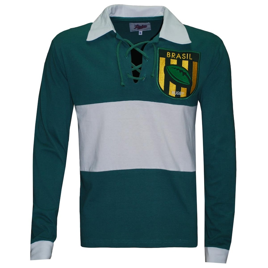 Camiseta Manga Longa Brasil Liga Retrô Rugby - Masculina c33dc23ccf7d2