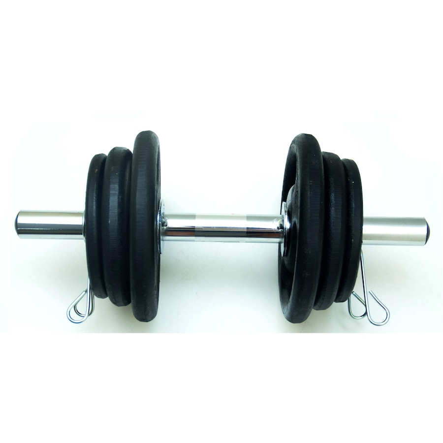 526399b31 Halter de Musculação Rope Store com 1 Barra de 40cm + 2 Presilhas + Anilhas  de ...