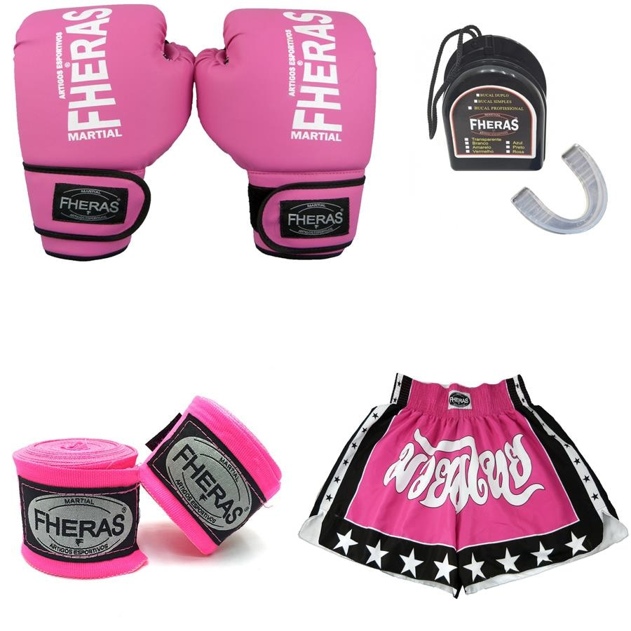 Kit Boxe Muay Thai Fheras  Luva + Shorts + Bandagem + Bucal - Feminino 3f6798038642e