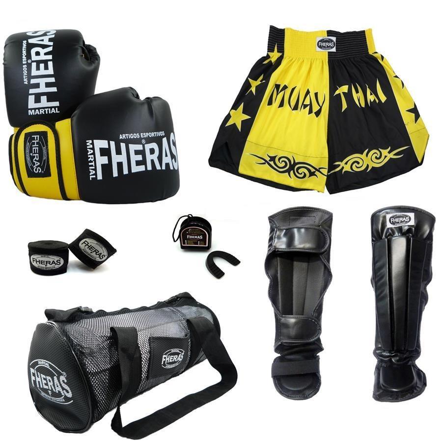 c0b355b4b Kit de Lutas Fheras Orion  Luvas de Boxe - 12 OZ + Caneleira + Bolsa +  Shorts ...