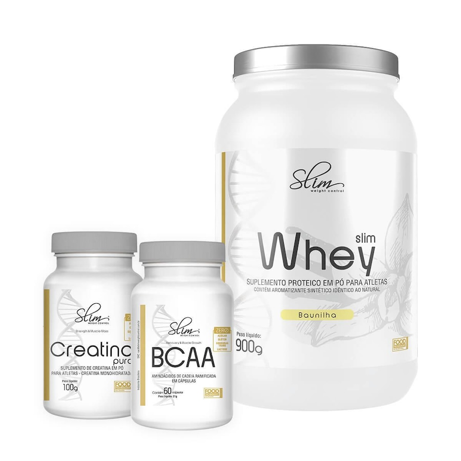 0003027a4 Whey Protein Slim Weight Control - Baunilha - 900g + BCAA - 60 Caps +  Creatina Pura - 100g
