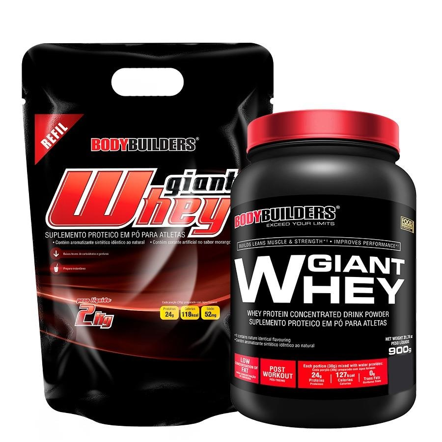 ad698d610 Giant Whey Protein Bodybuilders Refil - Baunilha - 2Kg + Giant Whey Protein  - 900g