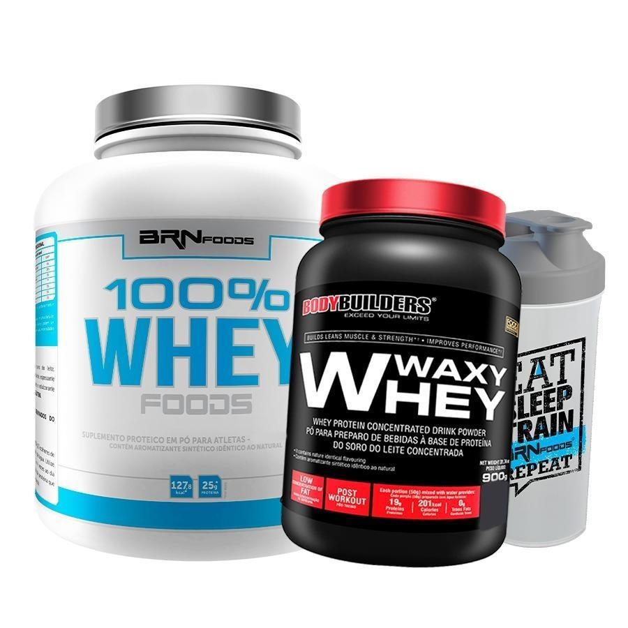 15cc06ade 100% Whey Protein BRN Foods - Baunilha - 2Kg + Waxy Whey Bodybuilders -  Baunilha 900g + Coqueteleira