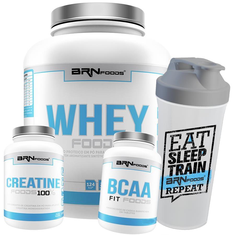 e2134dc3a Whey Protein BRN Foods - Morango - 2kg + Creatina - 100g + Premium BCAA -  120 Caps + Coqueteleira