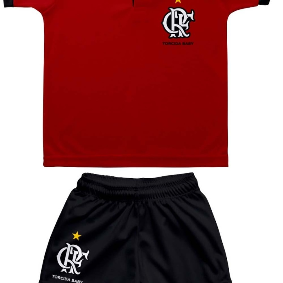 Kit de Uniforme de Futebol do Flamengo Torcida Baby  Camisa Polo + Short -  Infantil 1695b7ef9a241
