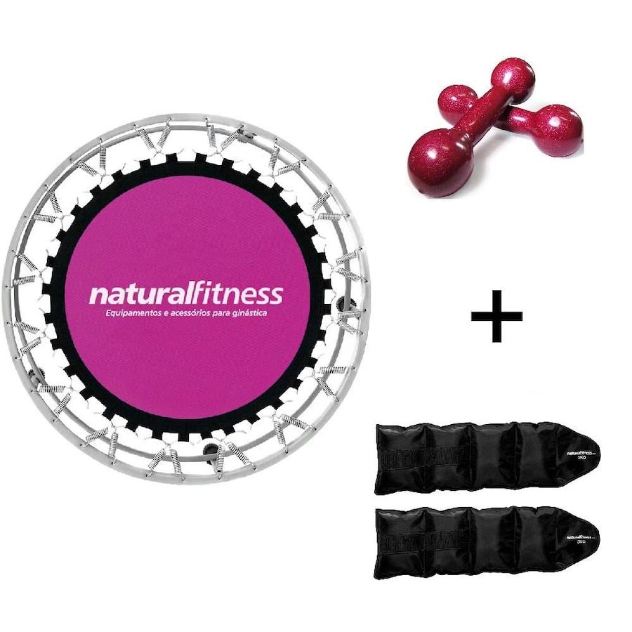 Cama Elástica Natural Fitness Mini Jump I + Caneleira de Peso - 2kg + Par  de Halter - 3kg fbd9a960043be