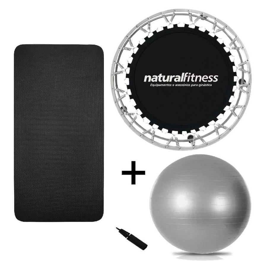 f9eea52874 Cama Elástica Natural Fitness Mini Jump + Bola Suíça - 75cm + Tapete EVA de  Yoga - 100 ...