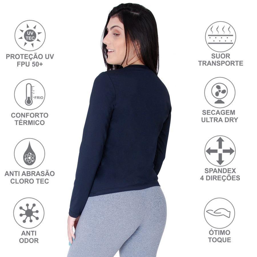 2ed5dc93e8e92 Camiseta Manga Longa Roupas Térmicas com Proteção Solar UV 50+ - Feminina