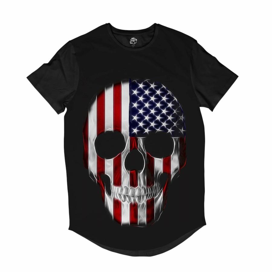 7e6a4c76dc Camiseta Longline BSC Caveira Maniaca EUA - Masculina