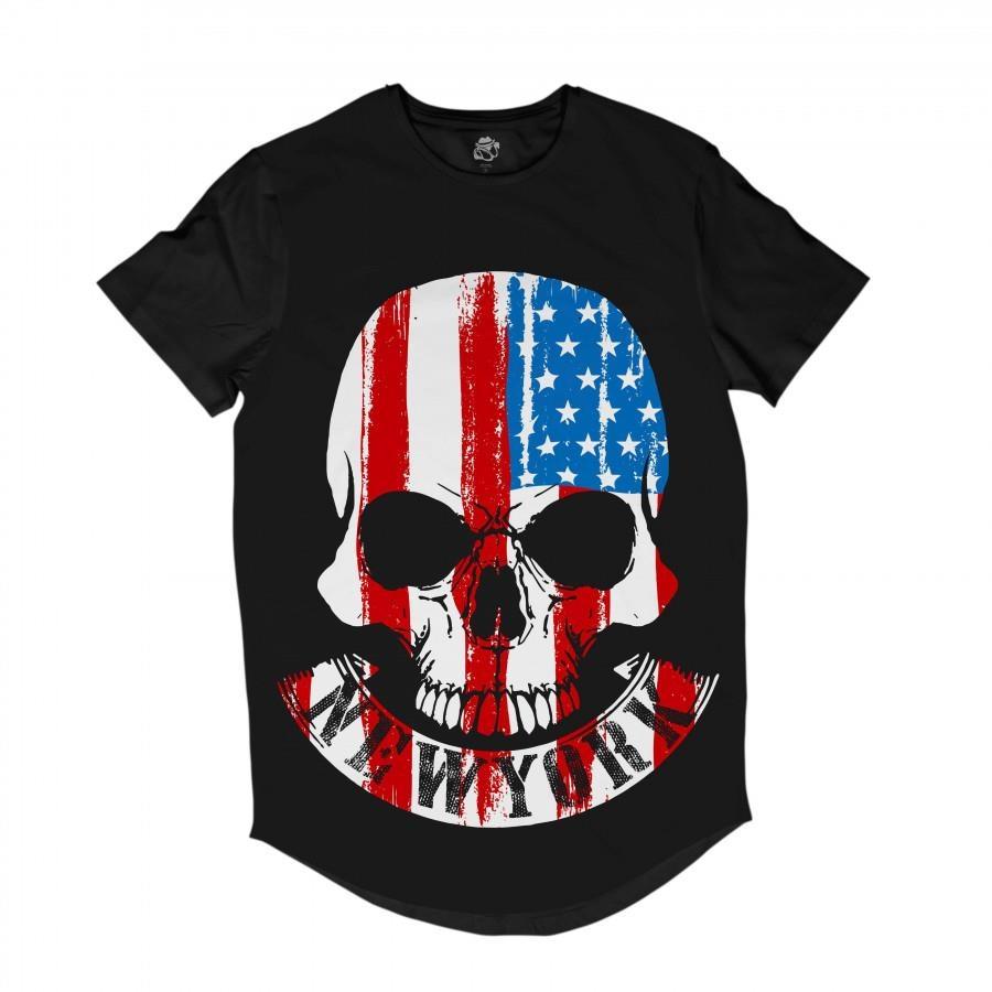 a751ea4847 Camiseta Longline BSC Caveira New York EUA - Masculina