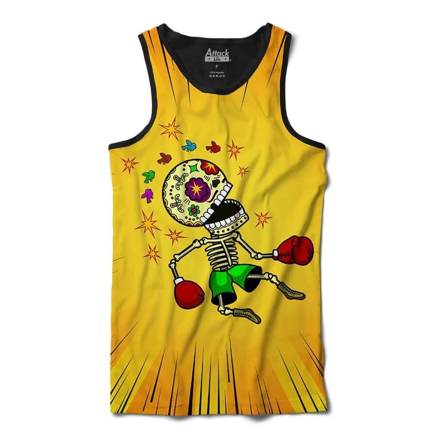 Camiseta Regata Attack Life Caveira Nocauteada - Masculina f3e660d8c610b