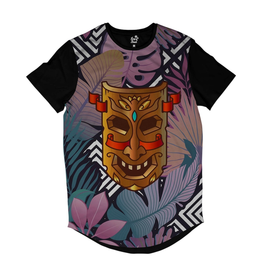 Camiseta Longline Long Beach Totem Floral Beleza - Masculina 6c3c4199c15