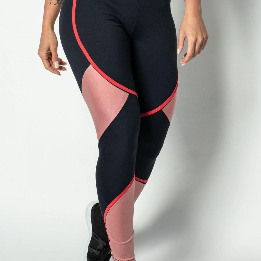 e30c9f380 Calça Legging Honey Be Fitness Poliamida Recortes - Feminina